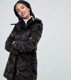 Пальто с камуфляжным принтом и капюшоном Esprit-Зеленый