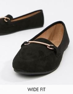 Черные туфли на плоской подошве для широкой стопы с отделкой RAID Viera-Черный