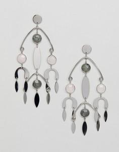 Серебристые серьги с камнями ASOS DESIGN-Серебряный