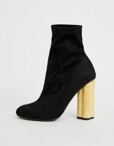 Ботинки на каблуке ASOS DESIGN Eliza-Черный