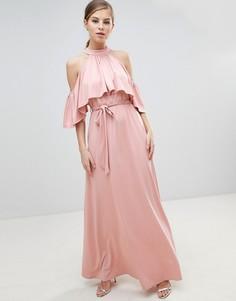Платье макси с ремнем и оборками Little Mistress-Розовый