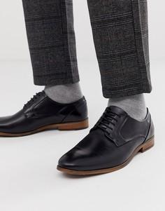 Черные кожаные туфли на шнуровке ASOS DESIGN-Черный