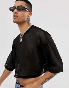 Черная укороченная сетчатая oversize-футболка с рукавами длиной до локтя ASOS DESIGN-Черный