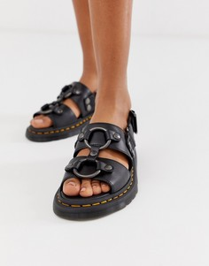 Черные кожаные сандалии Dr Martens Xabier-Черный