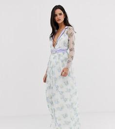Платье макси с глубоким вырезом и поясом Dusty Daze-Белый