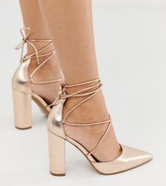 Туфли цвета розового золота для широкой стопы на высоком блочном каблуке ASOS DESIGN - Power Trip-Золотой