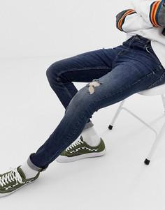 Темно-синие рваные джинсы скинни ASOS DESIGN-Синий
