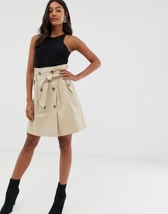 Бежевая юбка на пуговицах с завышенной талией Morgan-Бежевый