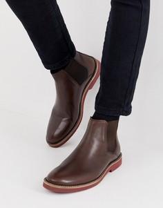 Коричневые кожаные ботинки челси с контрастной подошвой ASOS DESIGN-Коричневый