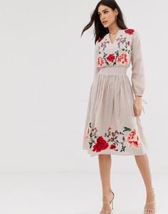 Платье миди с цветочной вышивкой ASOS DESIGN-Бежевый