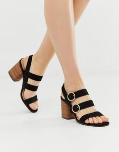 Туфли на блочном каблуке с ремешком с пряжкой Park Lane-Черный