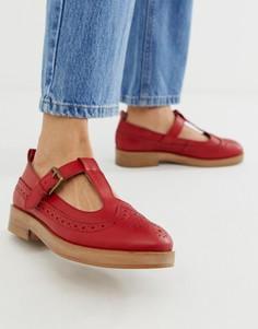 Красные кожаные туфли на плоской подошве ASOS DESIGN-Красный
