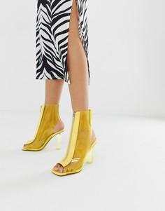 Прозрачные ботинки на каблуке ASOS DESIGN-Желтый