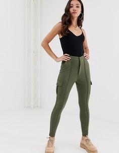Зауженные брюки с контрастным швом ASOS DESIGN-Зеленый