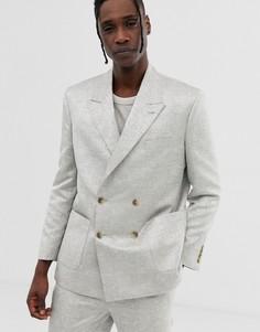 Серебристый двубортный жаккардовый пиджак свободного кроя ASOS DESIGN-Серебряный