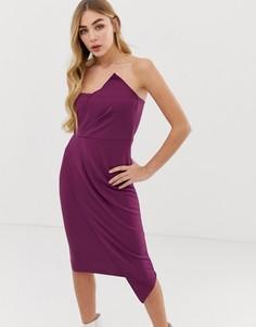 Платье-бандо миди сливового цвета в стиле оригами Missguided-Фиолетовый