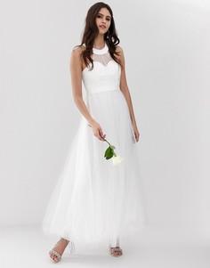 Белое свадебное платье макси из тюля с вырезом сердечком Y.A.S-Белый
