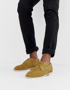 Бежевые замшевые туфли на шнуровке H by Hudson Chatra-Бежевый
