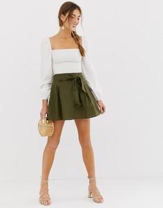 Хлопковая мини-юбка с поясом ASOS DESIGN-Зеленый