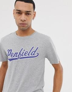 Серая меланжевая футболка с круглым вырезом и логотипом на груди Penfield Mendona-Серый