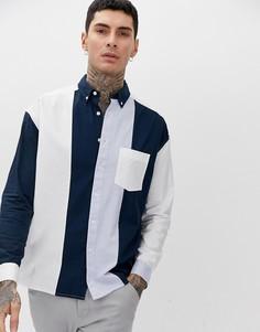 Оксфордская oversize-рубашка со вставками ASOS DESIGN-Мульти