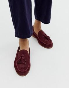 Бордовые замшевые туфли с плетеной отделкой и кисточками KG by Kurt Geiger-Красный