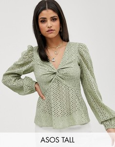 Лонгслив с V-образным вырезом и вышивкой ришелье ASOS DESIGN Tall-Зеленый