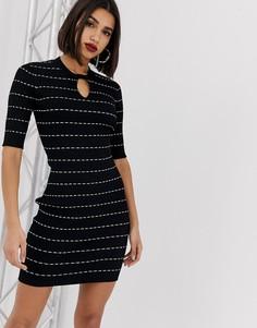 Вязаное платье-футляр с принтом Morgan-Черный