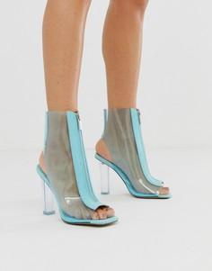 Прозрачные ботинки на каблуке ASOS DESIGN-Синий