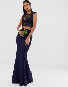 Юбка макси со вставкой Club L bridesmaid-Темно-синий