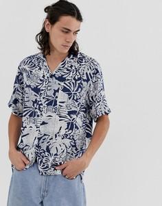 Синяя рубашка с короткими рукавами Carhartt WIP Tiki-Синий