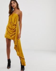 Атласное платье-бадно мини с драпировкой ASOS EDITION-Золотой