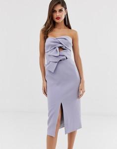 Премиум-платье миди лавандового цвета с вырезом капелькой и бантами True Decadence-Фиолетовый