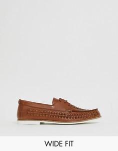 Светло-коричневые кожаные плетеные туфли для широкой стопы KG by Kurt Geiger-Светло-коричневый