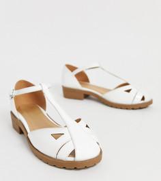 Белые лакированные туфли на плоской подошве для широкой стопы ASOS DESIGN Micha-Белый