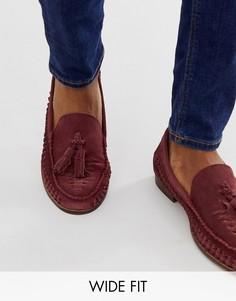 Бордовые плетеные замшевые туфли для широкой стопы с кисточками KG by Kurt Geiger-Красный