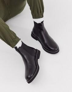 Черные кожаные ботинки челси на толстой подошве ASOS DESIGN-Черный