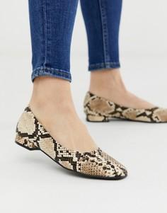 Туфли на плоской подошве с квадратным носком и эффектом змеиной кожи Accessorize-Мульти