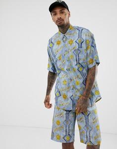 Комбинируемая oversize-рубашка с короткими рукавами и сплошным принтом Versace Jeans-Синий