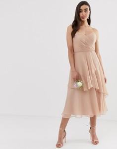 Платье-бандо миди с юбкой в несколько слоев ASOS DESIGN Bridesmaid-Розовый