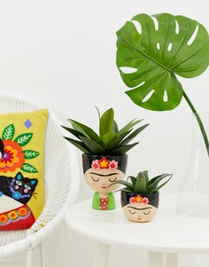 Большой цветочный горшок с дизайном в виде Фриды Кало Sass & Belle-Мульти