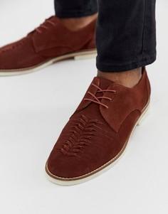 Замшевые туфли на шнуровке H by Hudson Chatra-Коричневый