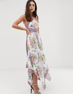 Платье миди с принтом, халтером и вырезами по бокам ASOS EDITION-Мульти