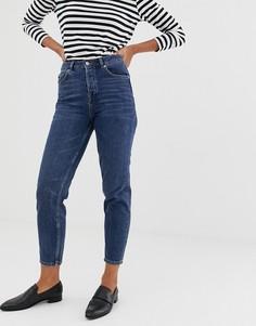 Джинсы в винтажном стиле Selected Femme-Темно-синий