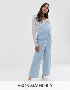 Светлый джинсовый комбинезон в стиле милитари ASOS DESIGN Maternity-Синий