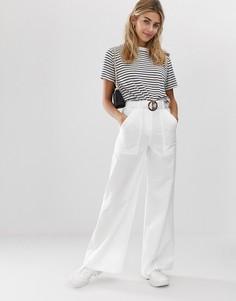 Широкие брюки с поясом ASOS DESIGN-Кремовый
