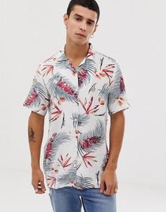 Рубашка с короткими рукавами, отложным воротником и цветочным принтом Le Breve-Белый