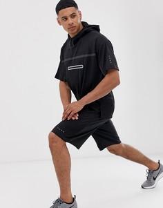 Черная oversize-футболка с капюшоном и сетчатой отделкой ASOS 4505-Черный