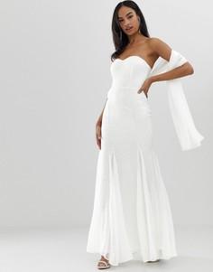 Платье макси бандо City Goddess Вridal-Белый