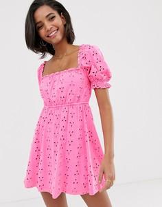 Платье мини с вышивкой ришелье ASOS DESIGN prairie-Розовый